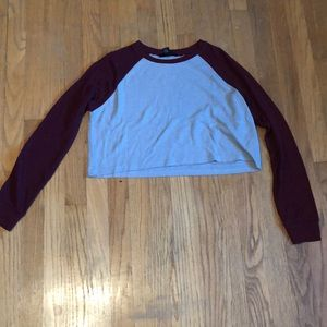 Forever 21 Cropped Thermal Baseball Tee